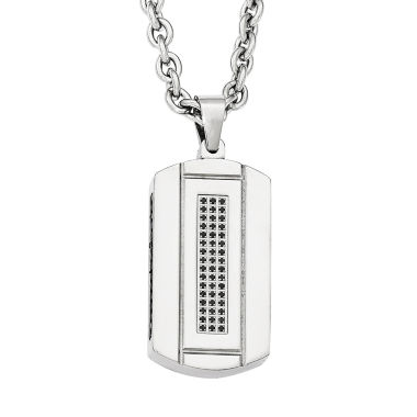jcpenney.com | Mens Cubic Zirconia Black Ion-Plated Stainless Steel Pendant