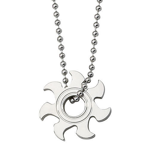 Mens Stainless Steel Sunburst Pendant