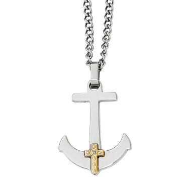 jcpenney.com | Mens Diamond Accent Stainless Steel & 14K Yellow Gold Anchor Mariner Cross Pendant