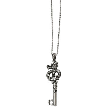 jcpenney.com | Mens Cubic Zirconia Stainless Steel Antique Dragon Pendant