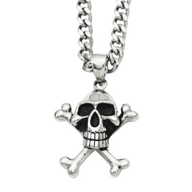 jcpenney.com | Mens Stainless Steel Antiqued Skull & Crossbones Pendant