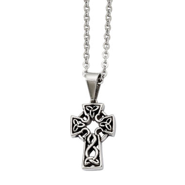 jcpenney.com | Mens Stainless Steel Antiqued Cross Pendant