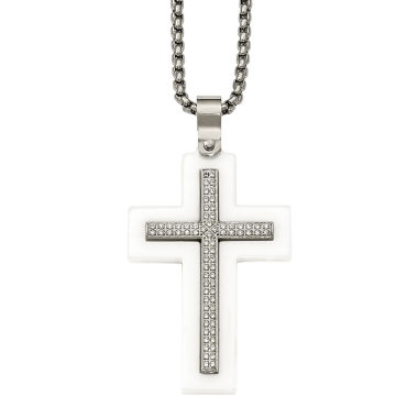 jcpenney.com | Mens Cubic Zirconia Stainless Steel & White Ceramic Cross Pendant