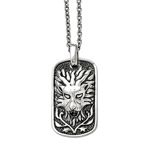 Mens Stainless Steel Antiqued Lion Dog Pendant