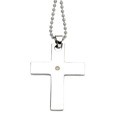 jcpenney.com | Mens Diamond Accent Stainless Steel & 14K Yellow Gold Accent Cross Pendant