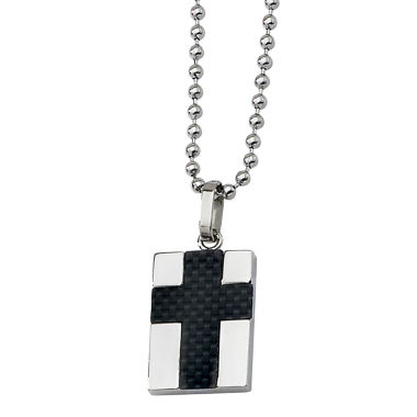 jcpenney.com | Mens Stainless Steel Carbon Fiber Cross Pendant