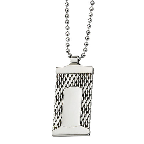 Mens Stainless Steel Mesh Dog Tag Pendant