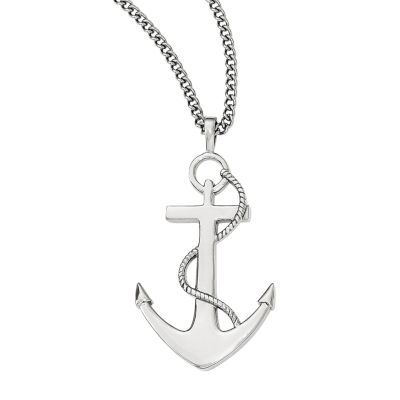 mariner sgd steel mens stainless pendant marina chain with puffed necklace cross bling jewelry