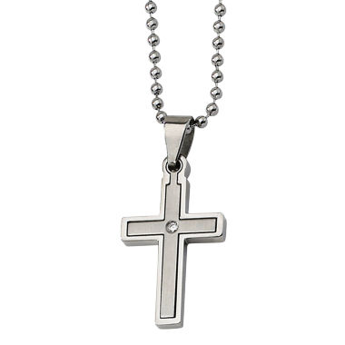 jcpenney.com | Mens Diamond Accent Stainless Steel Cross Pendant