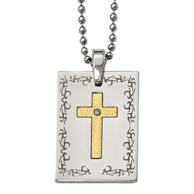 jcpenney.com | Mens Diamond Accent Stainless Steel & 18K Yellow Gold Polished Cross Pendant