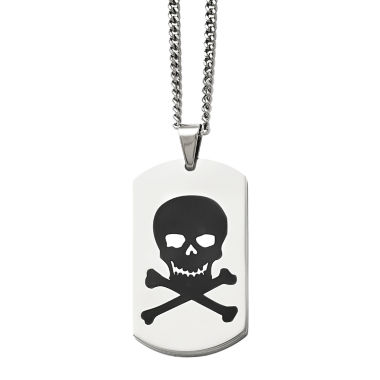 jcpenney.com | Mens Stainless Steel Black Enamel Skull Dog Tag Pendant