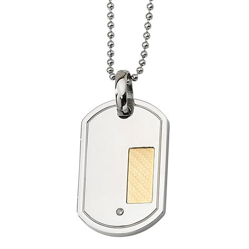 Mens Diamond Accent Stainless Steel & 18K Yellow Gold Plated Pendant