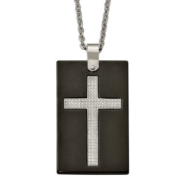 jcpenney.com | Mens Cubic Zirconia Stainless Steel & Black Ceramic Cross Pendant