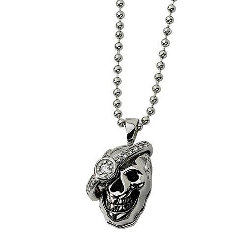 Mens 1/7 CT. T.W. Diamond Stainless Steel Skull Pendant