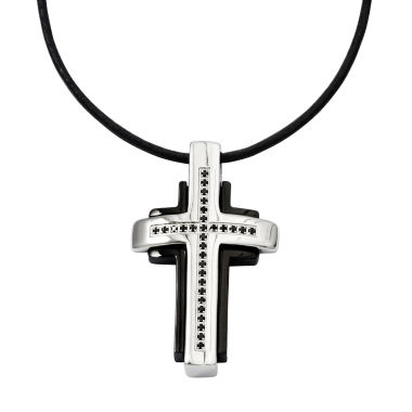 jcpenney.com | Mens 1/5 CT. T.W. Color-Enhanced Black Diamond Stainless Steel Cross Pendant