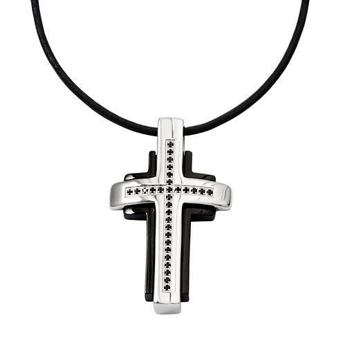 Mens 1/5 CT. T.W. Color-Enhanced Black Diamond Stainless Steel Cross Pendant