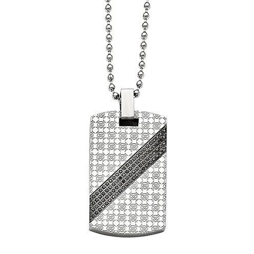 Mens 1/2 CT. T.W. Diamond Stainless Steel Dog Tag Pendant