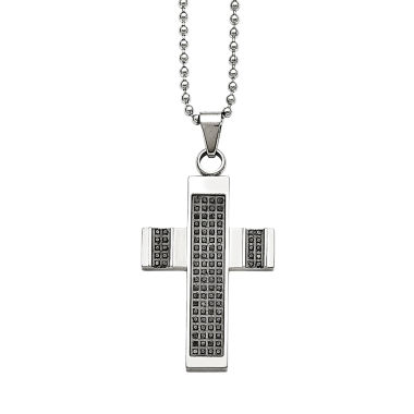 jcpenney.com | Mens 1/2 CT. T.W. Diamond Stainless Steel Cross Pendant
