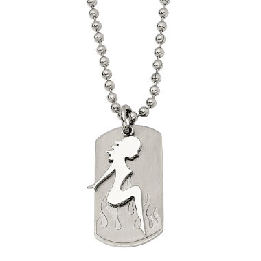 jcpenney.com | Mens Stainless Steel Pin-Up Girl Dog Tag Pendant