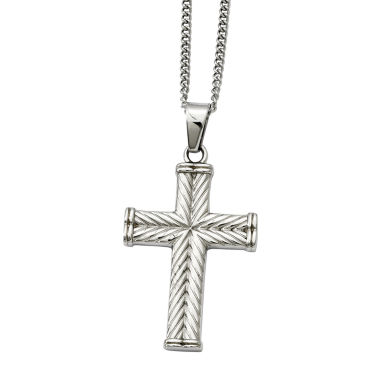 jcpenney.com | Mens Stainless Steel Textured Cross Pendant