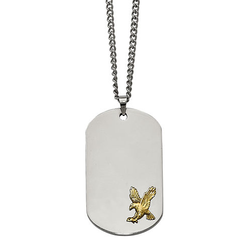 Mens Stainless Steel Gold Ion-Plated Eagle Dog Tag Pendant