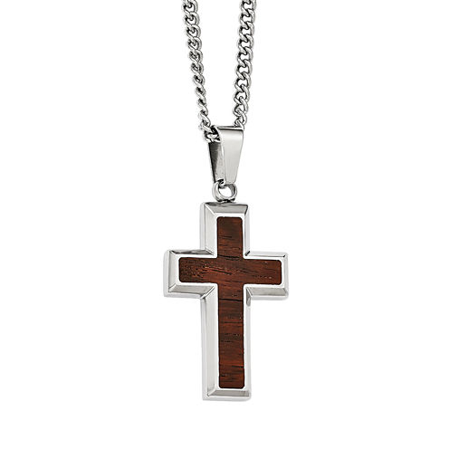 Mens Stainless Steel Wood Inlay Cross Pendant