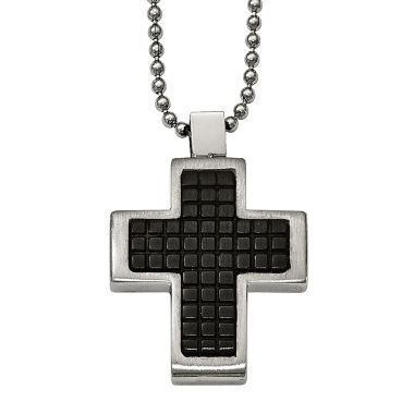 jcpenney.com | Mens Stainless Steel Black Ion-Plated Textured Cross Pendant