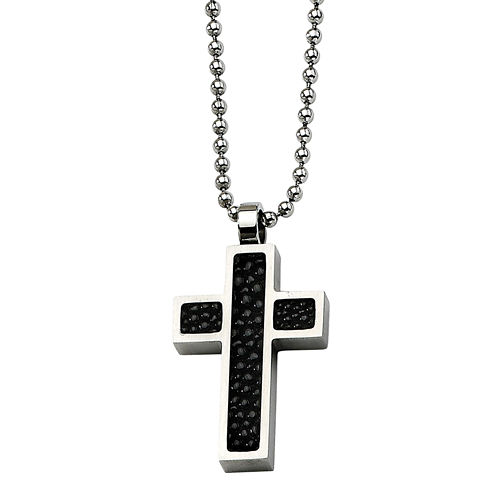 Mens Stainless Steel Black Stingray Leather Cross Pendant