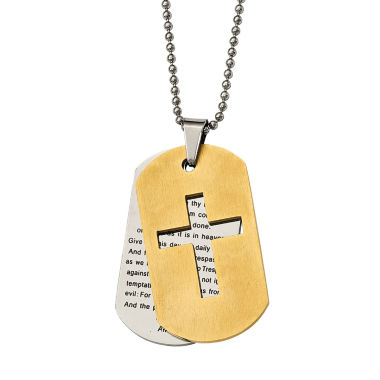 jcpenney.com | Mens Stainless Steel Yellow Ion-Plated Lords Prayer Cross Pendant