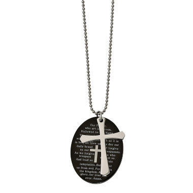 jcpenney.com | Mens Stainless Steel Black Ion-Plated Lords Prayer Oval Cross Pendant