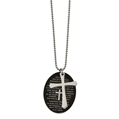 Mens Stainless Steel Black Ion-Plated Lords Prayer Oval Cross Pendant