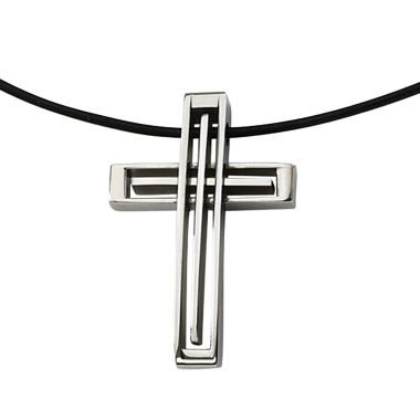 jcpenney.com | Mens Stainless Steel Leather Cord Cross Pendant
