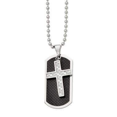 jcpenney.com | Mens Stainless Steel Carbon Fiber Cross & Dog Tag Pendant