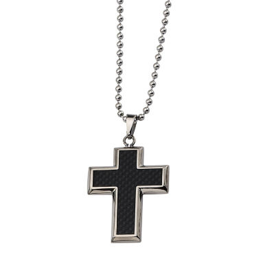 jcpenney.com | Mens Titanium Black Carbon Fiber Cross Pendant