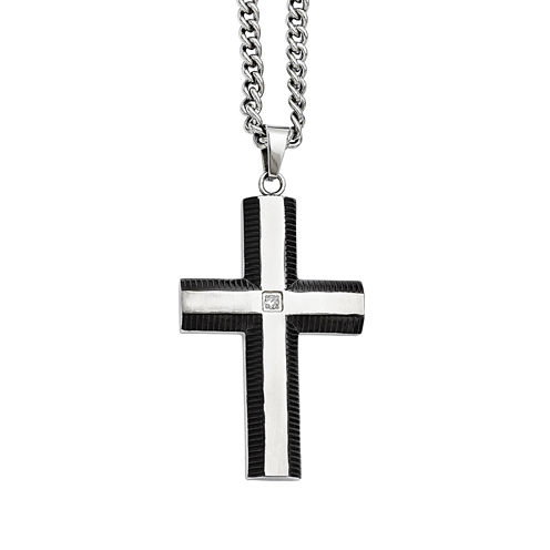 Mens Cubic Zirconia Stainless Steel & Black Ion-Plated Cross Pendant