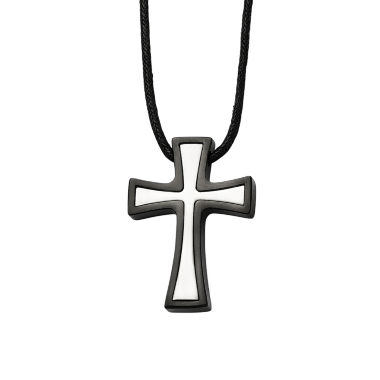 jcpenney.com | Mens Stainless Steel Black Ion-Plated Cross Pendant
