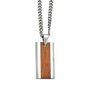 jcpenney.com | Mens Stainless Steel Wood Inlay Pendant