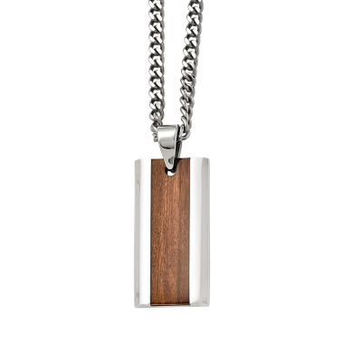 jcpenney.com | Mens Stainless Steel Brown Wood Inlay Pendant
