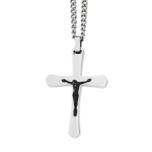 Mens Stainless Steel and Black Ion-Plated Crucifix Pendant