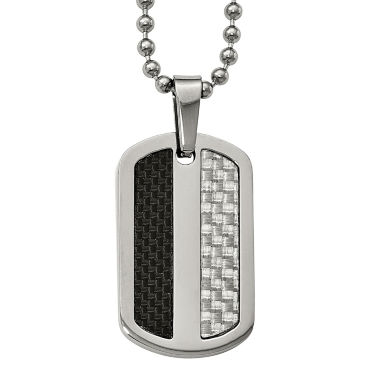 jcpenney.com | Mens Stainless Steel Black& Gray Carbon Fiber Dog Tag Pendant