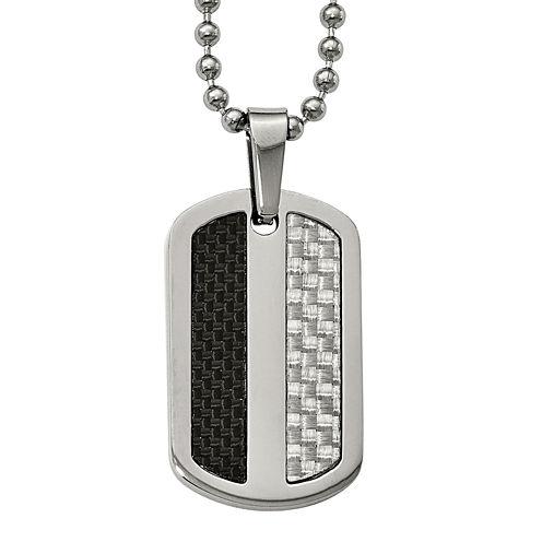 Mens Stainless Steel Black& Gray Carbon Fiber Dog Tag Pendant