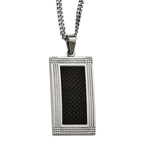 Mens Stainless Steel & Black Carbon Fiber Pendant
