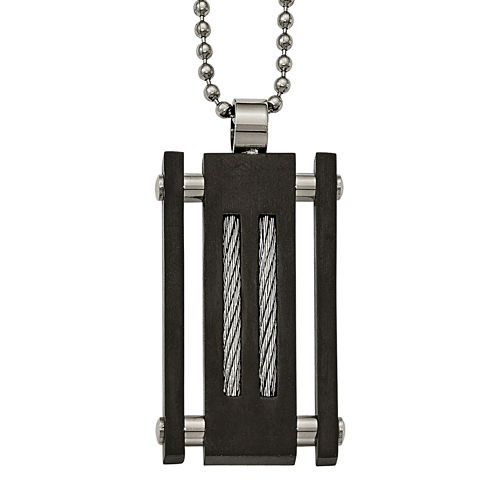 Mens Stainless Steel & Black Ion-Plated Pendant