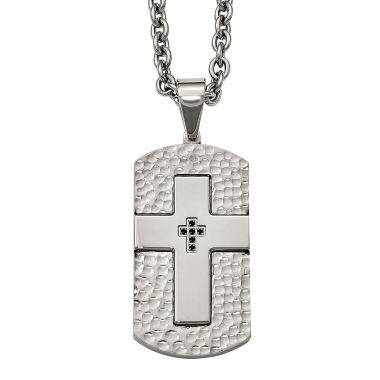 jcpenney.com | Mens Black Cubic Zirconia Stainless Steel Cross Dog Tag Pendant