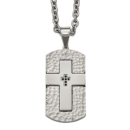 Mens Black Cubic Zirconia Stainless Steel Cross Dog Tag Pendant