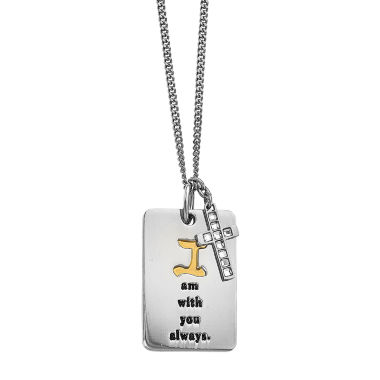 jcpenney.com | Mens Cubic Zirconia Yellow Ion-Plated Stainless Steel Cross Pendant
