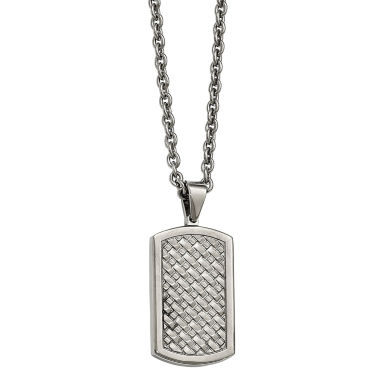 jcpenney.com | Mens Stainless Steel Basket Weave Dog Tag Pendant