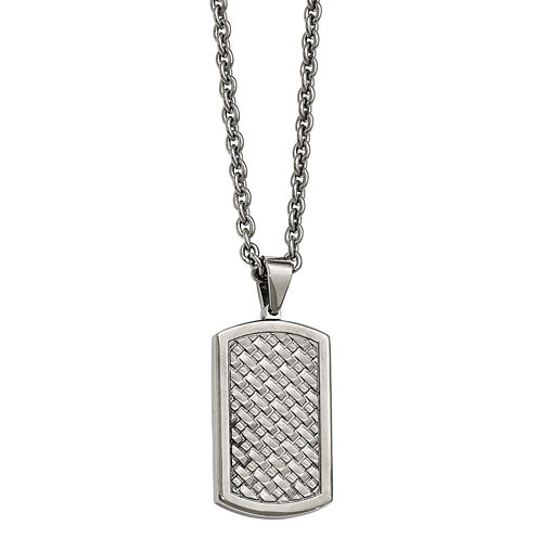 Mens Stainless Steel Basket Weave Dog Tag Pendant