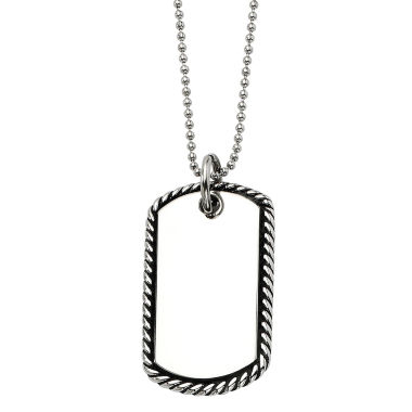 jcpenney.com | Mens Stainless Steel Twisted Rope Edge Dog Tag Pendant