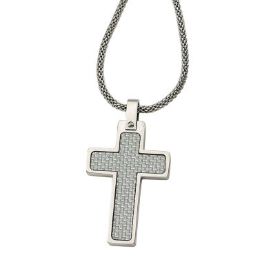 jcpenney.com | Mens Stainless Steel Grey Carbon Fiber Cross Pendant